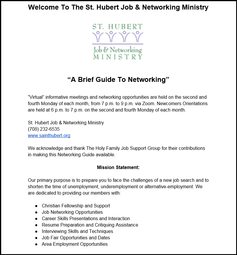 St-Hubert-Job-Ministry-Virtual-Brief-Guide-To-Networking-graphic