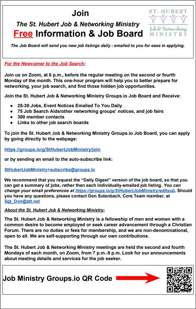 st-hubert-job-ministry-information-job-board-flyer