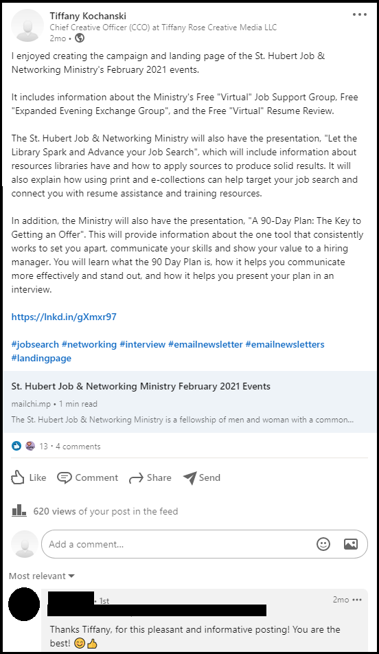 LinkedIn-post-st-hubert-job-networking-ministry-february-2021-events-tiffany-rose-creative-media